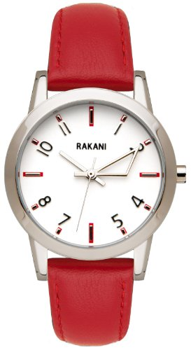 Rakani +5 32mm White Watch with Red Leather Band