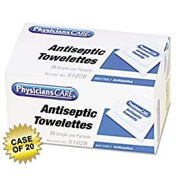 PhysiciansCare First Aid Antiseptic Towelettes, Box of 25 Individually Wrapped, Case of 20