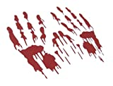 Bloody Hand Prints Decal Zombie Car Vinyl Sticker LARGE PAIR RED (Come With Zombie Hunter Permit Decal) StickerCiti Brand