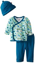 Zutano Baby-Boys Newborn Road Trip Kimono Top with Pant and Hat Set, Multi, 3 Months