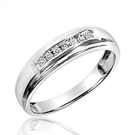 1/20 Carat T.W. Round Cut Diamond Ladies Wedding Band 10K White Gold – Free Gift Box – Size 6.5