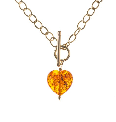 9ct Yellow Gold Large Amber Heart Pendant Necklet with T-Bar of 45.72cm