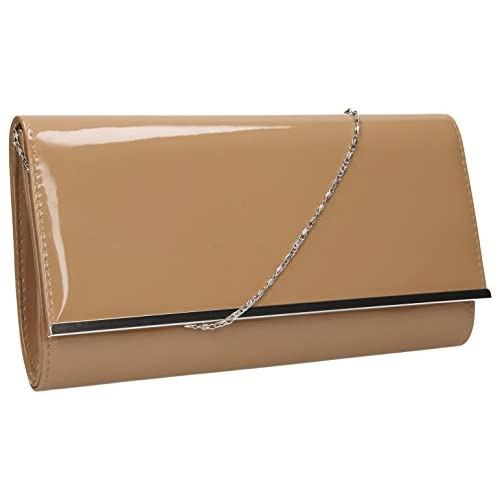 Heidi Patent <strong>Leather Flapover< strong> Women's Party Prom <strong>Clutch< strong> Bag