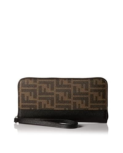 Fendi Men's Zip Around Zucca Wallet, Tobacco/Black