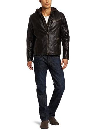 (新低)Levi's Men's Faux Leather Racer Jacket withHood连帽仿皮夹克2色$67.49未更