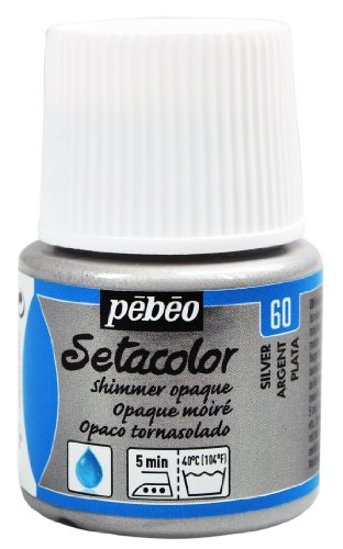 Pebeo Setacolor Opaque Fabric Paint 45-Milliliter Bottle, Shimmer Silver