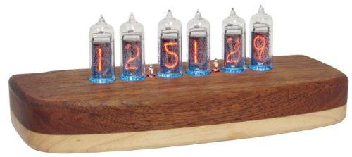 Classic Nixie Tube Clock, In-14 Tubes, Teak Maple Hardwood Base, Assembled