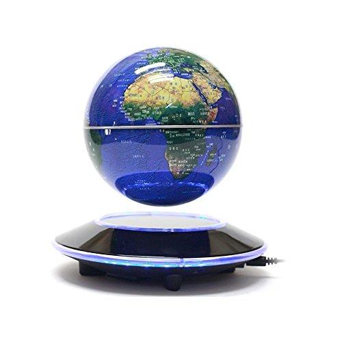 Senders 6Inch Floating Globe with LED Lights Magnetic Levitation Floating Globe World Map for Desk Decoration (Blue,6Inch) 0