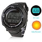 Unisex Solar Powered Multi-Functional Digital Wrist Watch (Black)