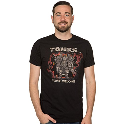 Sixtion World of Warcraft Tanks...You're Welcome Men's Short Sleeve Black Tee Shirt Medium