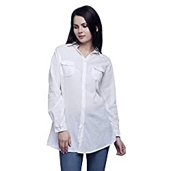MansiCollections Causal Women's Solid White Shirt (Small)
