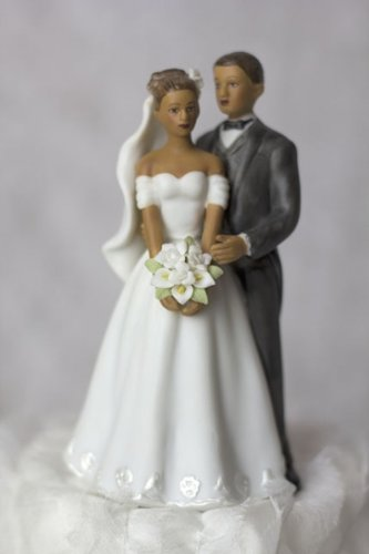 Elegant African American Couple Wedding Cake Topper