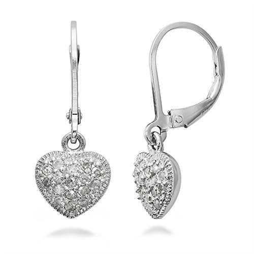 Sterling Silver Diamond Heart Earrings (1/2 Ct)