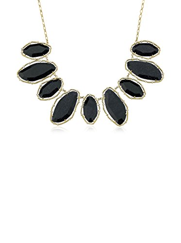 Riccova Arctic Mist Faceted Blue Glass Statement Necklace with CZs