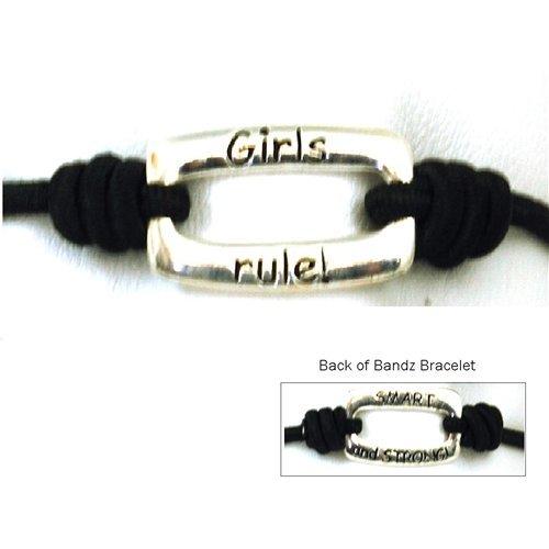 Bandz Black Stretch Sentiment Bracelet Girls Rule...Smart And Strong