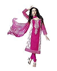 Admyrin Women Pink and White Cambric Dress Material
