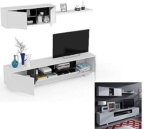 PACK COMPLETO, Mueble de Comedor Blanco y Negro Brillo, 200 cm