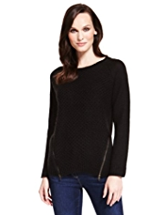 M&S Collection Zipped Panelled Jumper