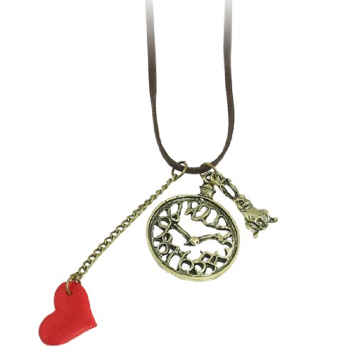 Rosallini Women Red Heart Bronze Tone Metal Clock Rabbit Pendant Necklace