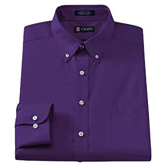 Chaps classic fit solid twill no iron button down collar Mens no iron dress shirts