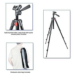 Manfrotto 718B Digi Tripod with Integrated 3-Way Head and Carrying Bag (Black)