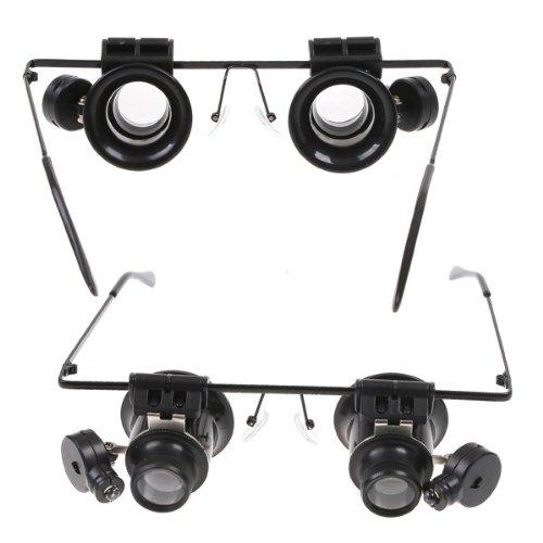 Factop 20X Magnification 2 Glasses Gauge Lens Type Watch Repair Magnifier Led Light