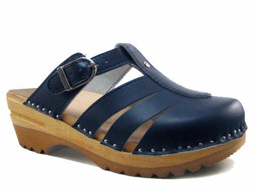 Troentorp Women'S Båstad Mary Jane Clog Sandal Blue Leather Clogs 39 Eu
