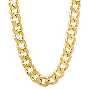 8mm Gold Plated Flat Cuban Link Curb Chain Necklace, 22