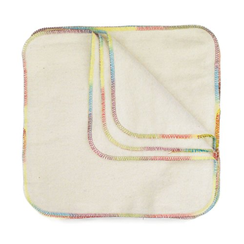 Bumkins Reusable Flannel Wipes, 12 Count, Natural