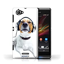 buy Printed Hard Back Case For Sony Xperia L/C2105/Funny Animals Collection/Chillin Headphone Dog