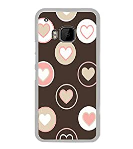 Brown and Pink Love Hearts 2D Hard Polycarbonate Designer Back Case Cover for HTC One M9 :: HTC One M9S :: HTC M9 :: HTC One Hima