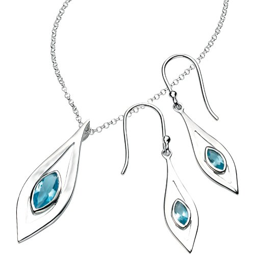Elina H Silver Marquise Drop Pendant with Blue Topaz Jewellery Set