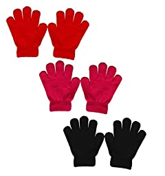 Peach Couture Children\'s Toddler Warm Winter Gloves Value 3 Pack 2-6 Years (Red, Fuchsia, Black)