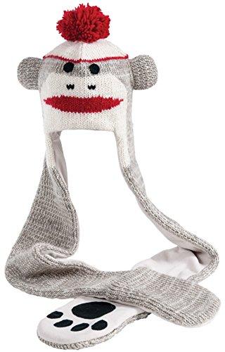 Nirvanna Designs HSCUTE Cute Monkey Hat Scarf, Grey, 11 Years