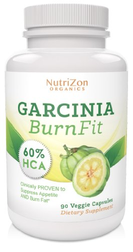 Highest Rated Garcinia Cambogia Extract - Powerful Safe & Effective Fat Burning Appetite Suppressant - 100% All Natural Weight Loss - Top Grade Premium Quality - 60% Hca 1,000/Mg Serving 90 Fast Acting Veggie Caps From Nutrizonorganics - Specially Priced front-22883