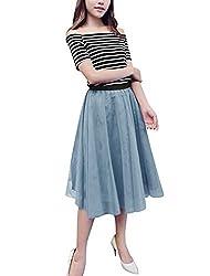 Women Stripes Off Shoulder Tops w Elatic Waist Mesh Skirts