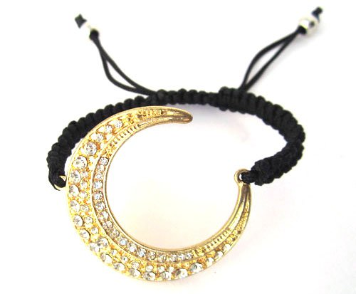 Gold Lace Style Iced Out Crescent Moon Bracelet with Beaded Disco Balls Macrame Shamballah