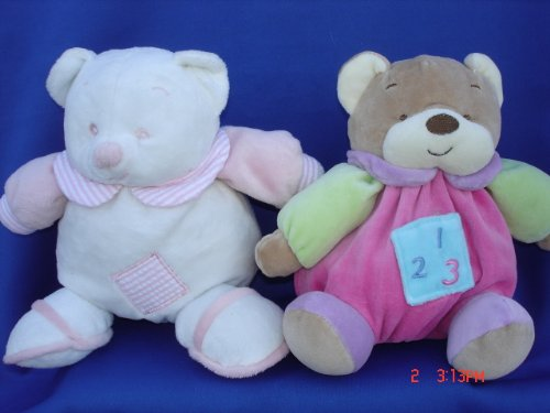Ultra Soft My First Baby Pink Teddy Bear Toy Rattle Stuffed Animal, 7 Inches Tall, 2 Pcs Set