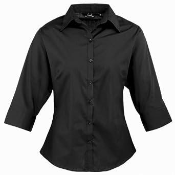 Premier 3/4 Sleeve Poplin Blouse / Plain Work Shirt (6) (Black)