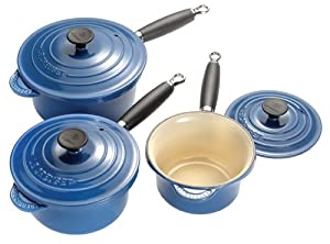 le creuset saucepan x3 set blue kitchen home. Black Bedroom Furniture Sets. Home Design Ideas
