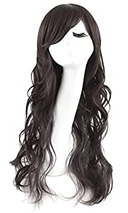MapofBeauty New Long Black Fashion Beautiful Curly Wigs Full Wavy Cosplay Wigs (Black)