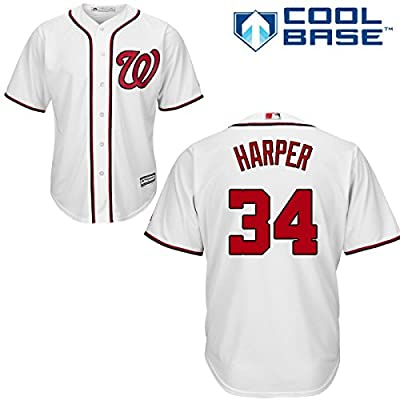 Bryce Harper Washington Nationals #34 MLB Men's Cool Base Home Jersey White