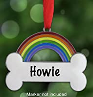 Rainbow Bridge Personalized Bone Pet Bereavement Ornament~Personalize the White Space with an Oil Based Paint Marker (Not Included)