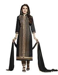 Shoppingover Bollywood Pure Cotton Chirdaar Salwar Kameez In Black Color