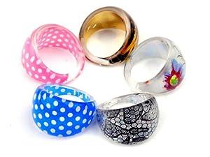Imixlot 20pcs Dot Kids Resin Round Rings Style Randomly