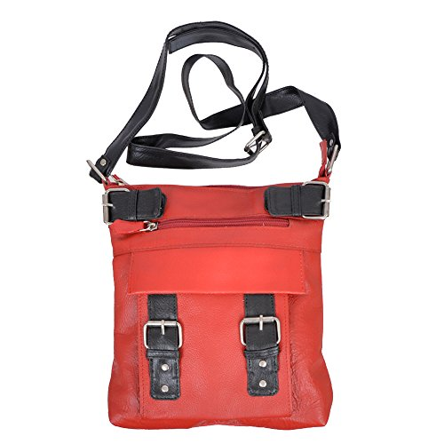 Champs Women's Genuine Leather Zip Cross Body Bag With Contrast Buckles Red