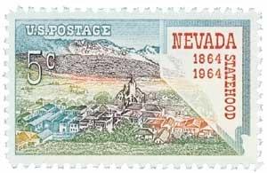 #1248 - 1964 5c Nevada Statehood Postage Stamps Plate Block