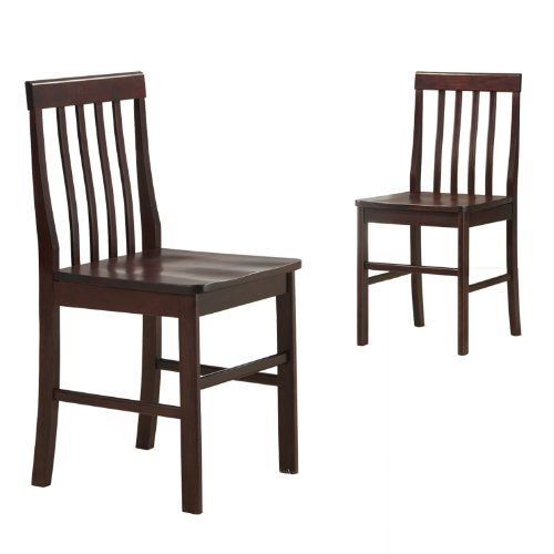 Walker Edison Solid Wood Dining Chairs, Espresso, Set of 2