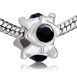 Pugster Black Jet Beads Fit Pandora Chamilia Biagi Charm Bracelet