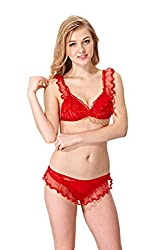 Lady Heart Womens Red Lace Self Design Babydoll Teddies Lingerie 269